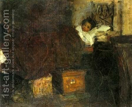 Sick Boy by Antonio Mancini - Reproduction Oil Painting