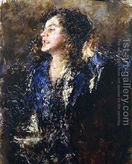 Smiling Girl by Antonio Mancini - Reproduction Oil Painting