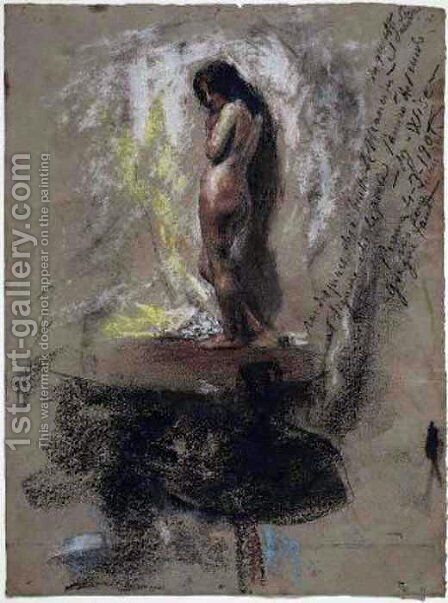 Study of a Nude Girl by Antonio Mancini - Reproduction Oil Painting
