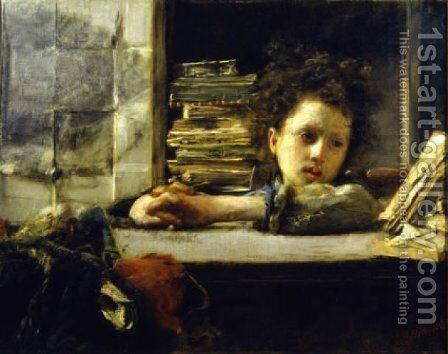 The Firm by Antonio Mancini - Reproduction Oil Painting