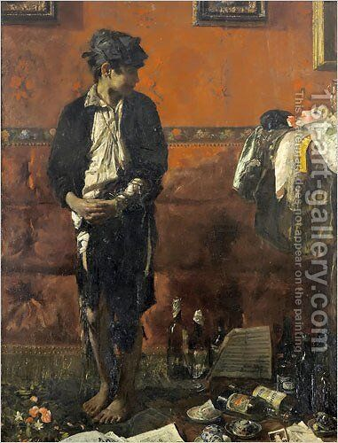 The Street Urchin by Antonio Mancini - Reproduction Oil Painting