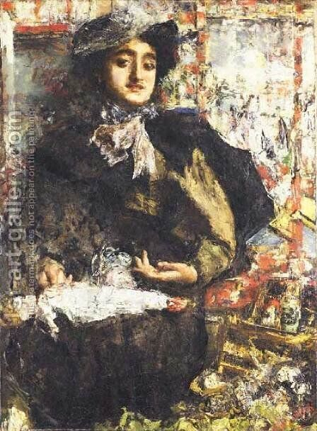 Toy Store by Antonio Mancini - Reproduction Oil Painting