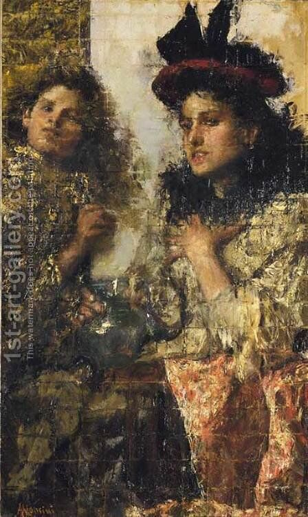 de Lafenis by Antonio Mancini - Reproduction Oil Painting