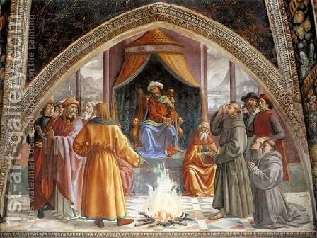 St Francis cycle, Test of Fire before the Sultan by Domenico Ghirlandaio - Reproduction Oil Painting