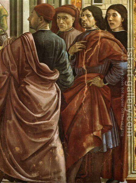 01, Expulsion of Joachim from the Temple (Portrait of Ghirlandaio, the second from the right) by Domenico Ghirlandaio - Reproduction Oil Painting