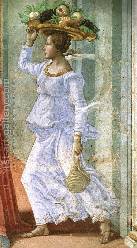 12, Birth of St John the Baptist (detail 1) by Domenico Ghirlandaio - Reproduction Oil Painting