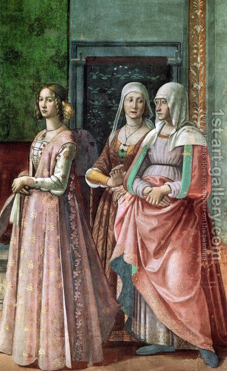 12, Birth of St John the Baptist (detail 2) by Domenico Ghirlandaio - Reproduction Oil Painting