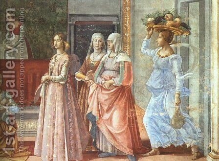 12, Birth of St John the Baptist (detail 3) by Domenico Ghirlandaio - Reproduction Oil Painting
