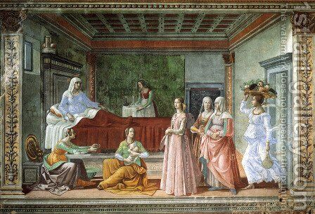 12, Birth of St John the Baptist by Domenico Ghirlandaio - Reproduction Oil Painting