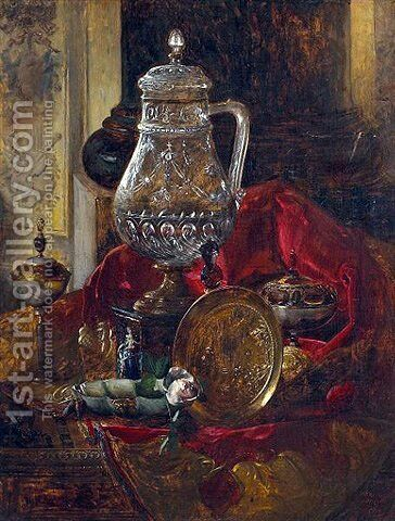A still life with a crystal tankard and other precious objects arranged on a draped cloth by Blaise Alexandre Desgoffe - Reproduction Oil Painting