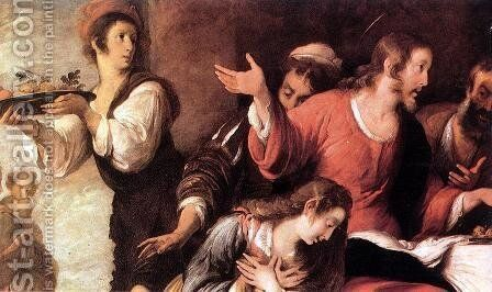 Banquet at the House of Simon (detail 3) by Bernardo Strozzi - Reproduction Oil Painting