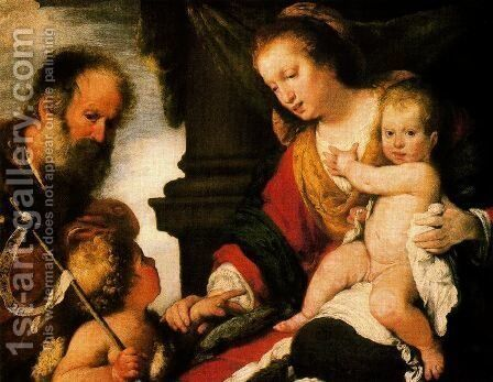 Holy Family with St. John the Baptist by Bernardo Strozzi - Reproduction Oil Painting