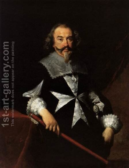 Portrait of a Maltese Knight by Bernardo Strozzi - Reproduction Oil Painting