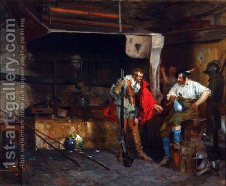 A Visit To The Armor Shop by Eduardo Zamacois y Zabala - Reproduction Oil Painting