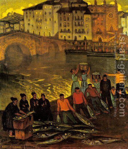 Fisherfolk in a Harbour Town by Eduardo Zamacois y Zabala - Reproduction Oil Painting