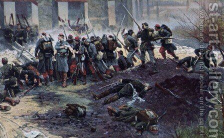 Battle of Champigny, the lime kiln (detail) by Alphonse de Neuville - Reproduction Oil Painting