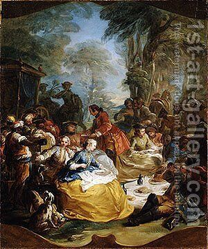 The picnic after the hunt by Carle van Loo - Reproduction Oil Painting