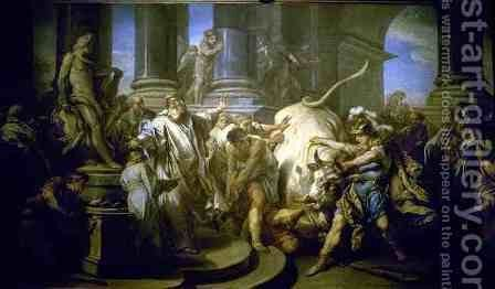 Theseus Conquering the Bull at Marathon by Carle van Loo - Reproduction Oil Painting