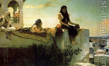 A terrace in Morocco, in the evening by Benjamin Jean Joseph Constant - Reproduction Oil Painting