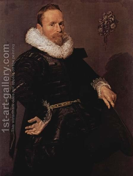 Portrait of a man with pleated collar, with a hat in the left hand by Frans Hals - Reproduction Oil Painting