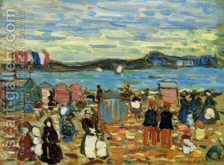 Bathing Tents, St. Malo by Maurice Brazil Prendergast - Reproduction Oil Painting