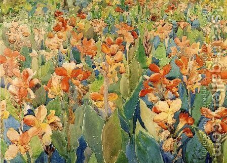 Bed of Flowers (also known as Cannas or The Garden) by Maurice Brazil Prendergast - Reproduction Oil Painting