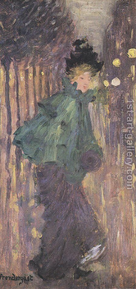Lady on the Boulevard, AKA The Green Cape by Maurice Brazil Prendergast - Reproduction Oil Painting