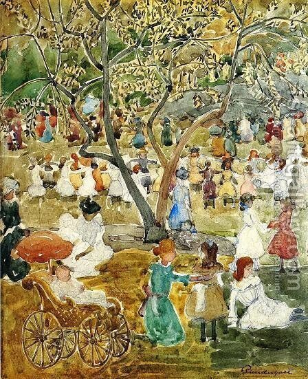 May Party (also known as May Day, Central Park) by Maurice Brazil Prendergast - Reproduction Oil Painting