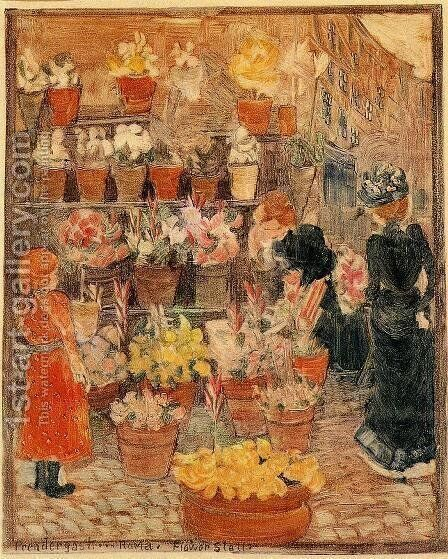 Roma, Flower Stall (also known as Flower Stall or Roman Flower Stall) by Maurice Brazil Prendergast - Reproduction Oil Painting