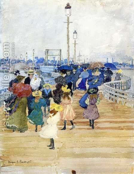 South Boston Pier (also known as Atlantic City Pier) by Maurice Brazil Prendergast - Reproduction Oil Painting