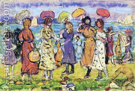 Sunny Day at the Beach by Maurice Brazil Prendergast - Reproduction Oil Painting