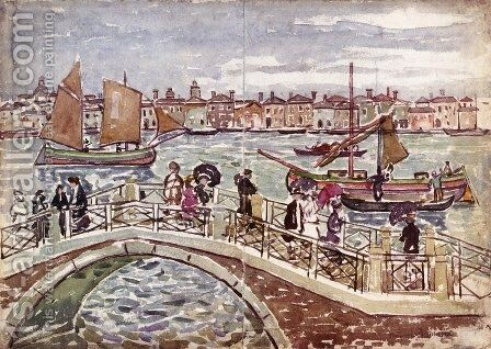 View of Venice (also known as Giudecca from The Zattere) by Maurice Brazil Prendergast - Reproduction Oil Painting