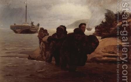 Barge Haulers wading by Ilya Efimovich Efimovich Repin - Reproduction Oil Painting
