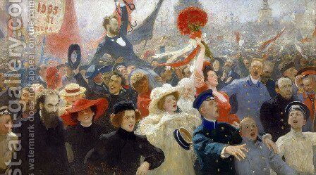 Demonstration on October 17, 1905 by Ilya Efimovich Efimovich Repin - Reproduction Oil Painting