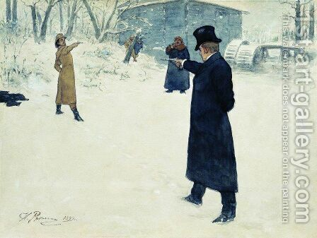 Eugene Onegin and Vladimir Lensky's duel by Ilya Efimovich Efimovich Repin - Reproduction Oil Painting
