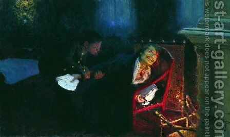 Gogol burning the manuscript of the second part of 'Dead Souls' by Ilya Efimovich Efimovich Repin - Reproduction Oil Painting
