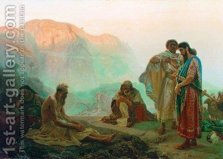 Job and His Friends by Ilya Efimovich Efimovich Repin - Reproduction Oil Painting