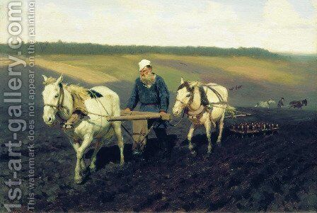 Ploughman. Lev Nikolayevich Tolstoy in the ploughland by Ilya Efimovich Efimovich Repin - Reproduction Oil Painting