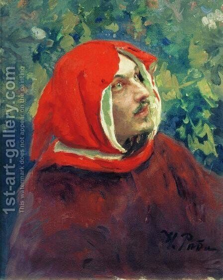 Portrait of Dante. Study by Ilya Efimovich Efimovich Repin - Reproduction Oil Painting