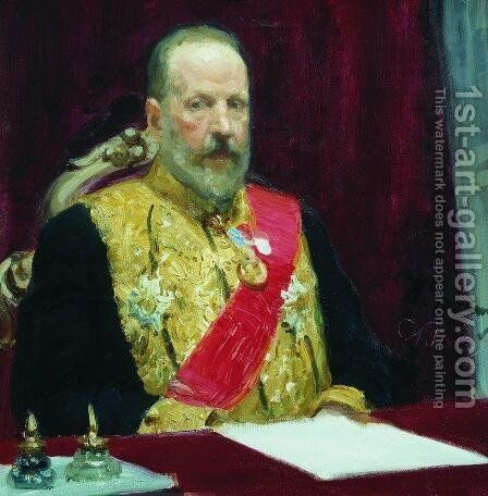Portrait of Finance Minister and member of State Council Sergei Yulyevich Witte by Ilya Efimovich Efimovich Repin - Reproduction Oil Painting
