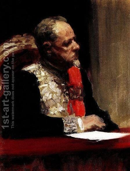 Portrait of Minister of Ways of Communication and member of State Council, Prince Mikhail Ivanovich Khilkov by Ilya Efimovich Efimovich Repin - Reproduction Oil Painting
