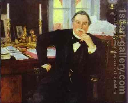 Portrait of Minister of the Interior Vyacheslav Konstantinovich von Pleve by Ilya Efimovich Efimovich Repin - Reproduction Oil Painting