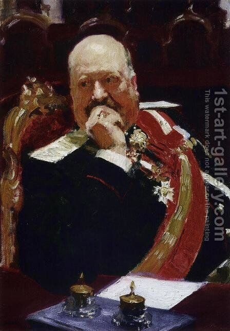 Portrait of Vice Minister of the Interior, cavalry general and member of State Council, Count Aleksey Pavlovich Ign by Ilya Efimovich Efimovich Repin - Reproduction Oil Painting