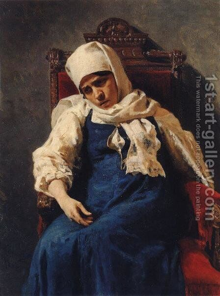 Portrait of actress Pelageya Antipevna Strepetova in the role of Elizabeth by Ilya Efimovich Efimovich Repin - Reproduction Oil Painting