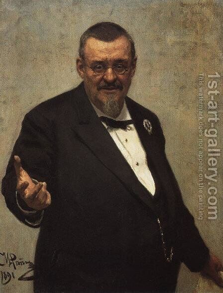 Portrait of jurist and Polish literature historian Wlodzimierz Spasowicz by Ilya Efimovich Efimovich Repin - Reproduction Oil Painting
