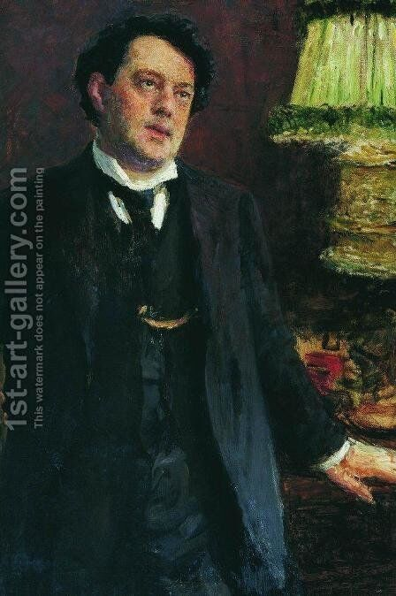 Portrait of lawyer Oskar Osipovich Grusenberg by Ilya Efimovich Efimovich Repin - Reproduction Oil Painting