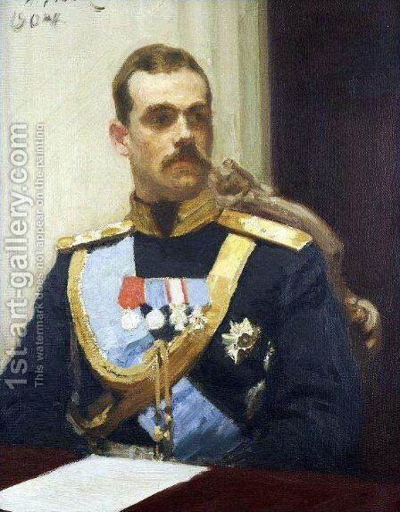 Portrait of member of State Council Grand Prince Mikhail Aleksandrovich Romanov by Ilya Efimovich Efimovich Repin - Reproduction Oil Painting