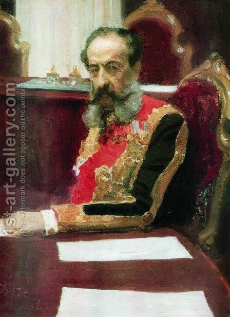 Portrait of member of State Council and Grand Chamberlain, Prince Mikhail Sergeyevich Volkonsky by Ilya Efimovich Efimovich Repin - Reproduction Oil Painting