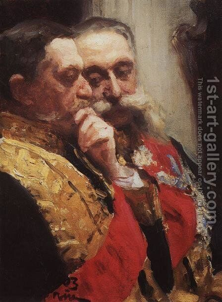 Portrait of members of State Council Ivan Logginovich Goremykin and Nikolai Nikolayevich Gerard by Ilya Efimovich Efimovich Repin - Reproduction Oil Painting