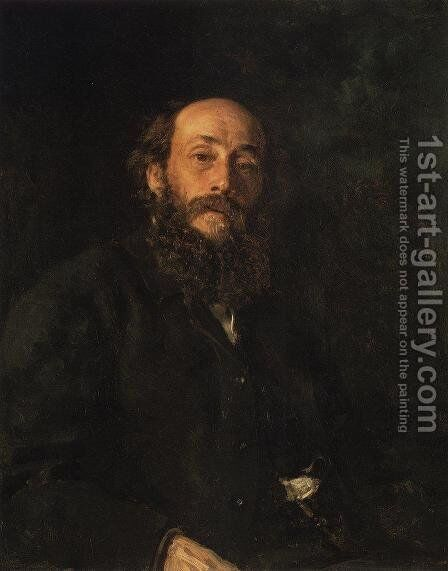 Portrait of painter Nikolai Nikolayevich Ghe by Ilya Efimovich Efimovich Repin - Reproduction Oil Painting